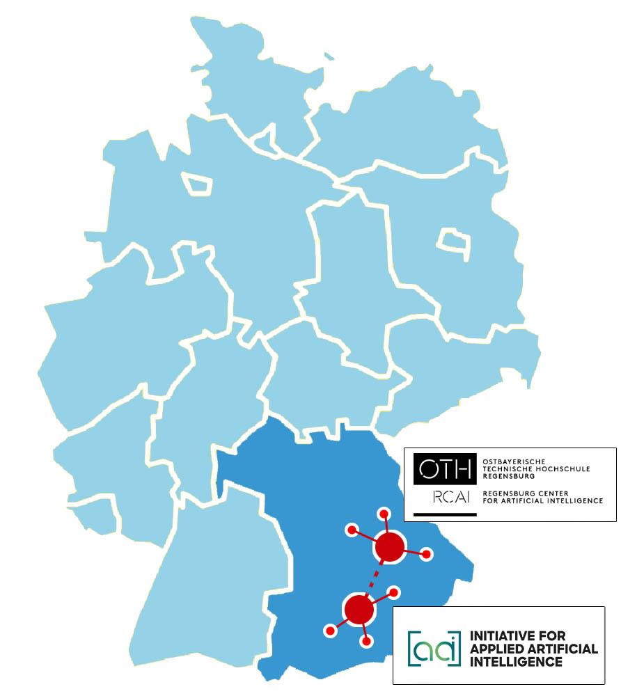 Beide KI Regionalzentren appliedAI im Raum München und die OTH im Raum Regensburg auf der Karte